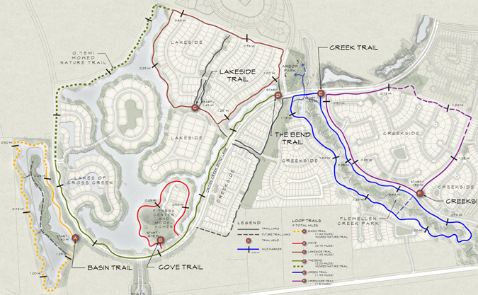 Cross Creek Ranch Community Amenities Hike Bike Trails Map